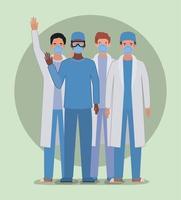 hommes médecins avec des masques uniformes et des lunettes
