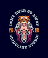 fille avec conception de t-shirt de chapeau de tigre vecteur