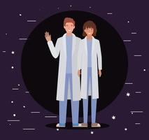 homme et femme médecin avec conception d & # 39; uniformes
