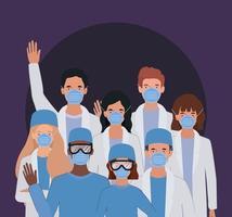 médecins hommes et femmes avec des masques uniformes et des lunettes