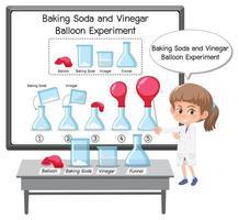 expérience scientifique avec ballon de bicarbonate de soude et de vinaigre