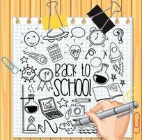 Élément scolaire en style doodle ou croquis sur papier
