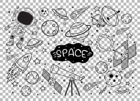 doodles d'éléments spatiaux dessinés à la main vecteur