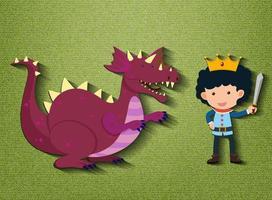 petit personnage de dessin animé chevalier et dragon vecteur