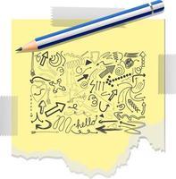 différents traits de griffonnage sur un papier avec un crayon