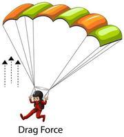 montrant un exemple de force de traînée avec un skydriver vecteur
