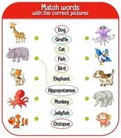 feuille de calcul de correspondance mot à image pour enfants