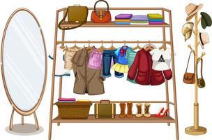 vêtements suspendus à une corde à linge avec accessoires vecteur