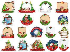 ensemble de modèle de carte de Noël vierge isolé sur fond blanc vecteur