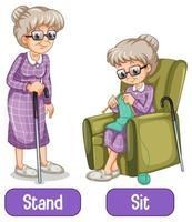 mots opposés avec debout et assis