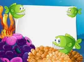 papier vierge avec des poissons exotiques et des éléments de la nature sous-marine vecteur