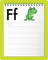 feuille de calcul de traçage alphabet avec lettre f et f