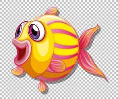 poisson mignon avec personnage de dessin animé de grands yeux vecteur