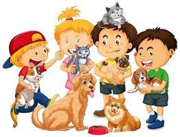 enfants jouant avec des chiens et des chats vecteur
