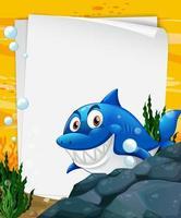 modèle de papier vierge avec un requin vecteur