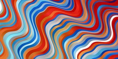 fond bleu clair, rouge avec des lignes ondulées.