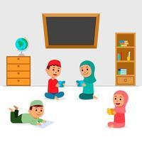 islam enfants assis et livre de lecture