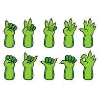 collection de gestes de main de dessin animé de lézard