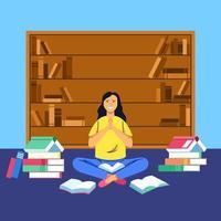 les femmes recherchent dans la bibliothèque mais n'obtiennent aucun résultat vecteur