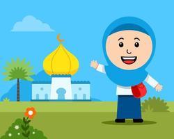 joyeuse fille étudiante musulmane devant la mosquée