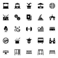 icônes de glyphe de parc aventure vecteur