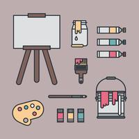 Ensemble de choses pour la peinture vecteur