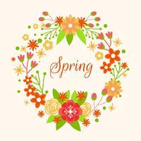 Couronne de printemps avec le vecteur de fleur