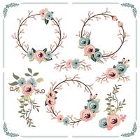 Couronne florale de printemps vecteur