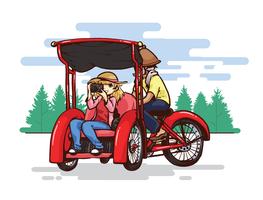 illustration vectorielle trishaw vecteur