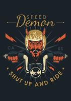 Emblème de moto vintage démon vecteur