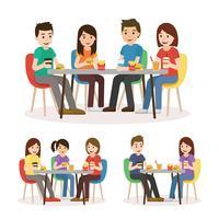 Personnes mangeant dans une aire de restauration vecteur