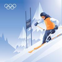 Vecteur de ski de neige