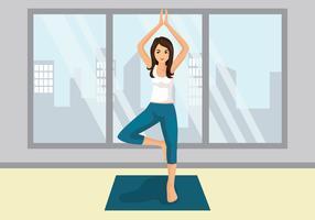 Instructeur de yoga mignon vecteur