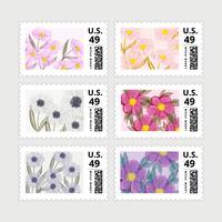 Vecteur série de timbres de printemps