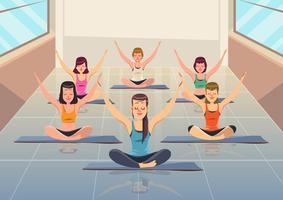 Cours de yoga vecteur