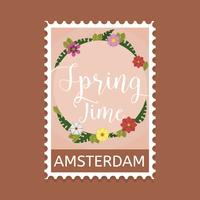 Vecteur de timbre printemps plat