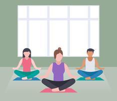 Ensemble exceptionnel de vecteurs d'instructeur de yoga vecteur