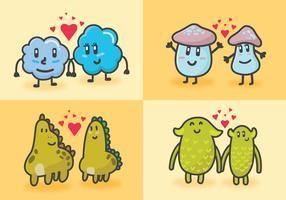 Pack de créatures dans l'amour vecteur