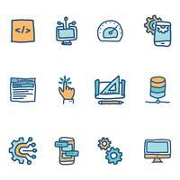 Icônes Blue Doodled sur les ingénieurs logiciels vecteur