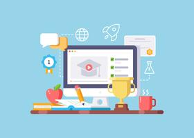 Illustration de l'éducation en ligne et de l'apprentissage en ligne