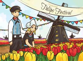 Festival tulipe des Pays-Bas vecteur
