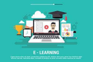 Illustration vectorielle d'apprentissage en ligne
