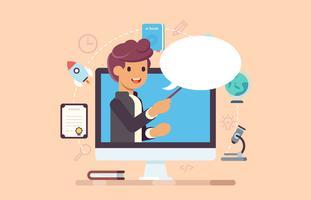 Apprentissage en ligne, concept d'illustration de webinaire vecteur