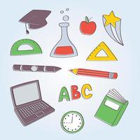 Éléments de l'école dessinés à la main