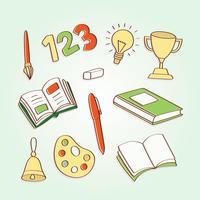 Éléments de l'école dessinés à la main vecteur