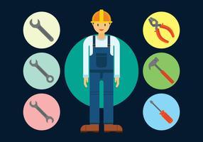 Réparer l'homme ingénieur vecteur