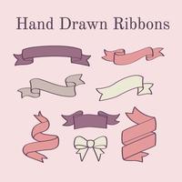 Vecteur de rubans dessinés à la main
