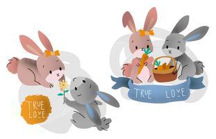 Couple mignon lapin en amour Vector illustration