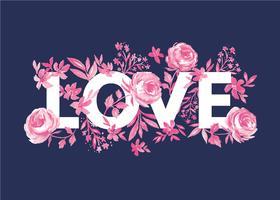 Amour et fleurs vecteur