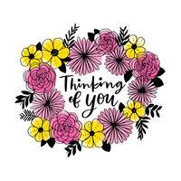 Pensant à toi guirlande florale vecteur